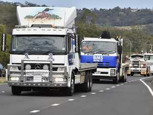 Truck convoy leaves Withcott