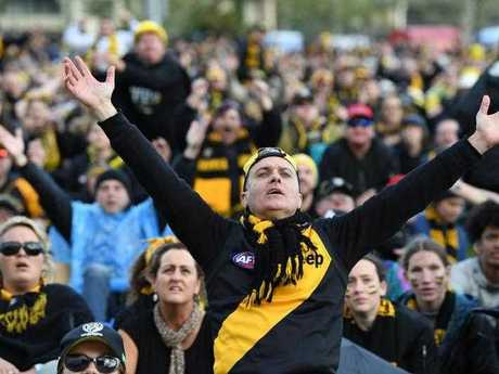 Tigers fans react to a goal while watching the 2017 AFL live telecast screens at the Punt Rd.
