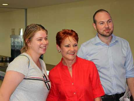 CQ VISIT: Pauline Hanson poses for pictures with fans.
