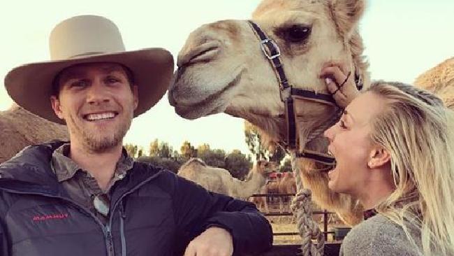 Karl Cook and Kaley Cuoco visit Uluru Camel Farm.