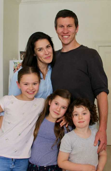 Claudia and Mathew Bowman with their three children (from left) Clementine (8), Scout (7) and Sunday (5)