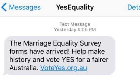 The Vote Yes text message that was sent out to numerous Australian numbers received major backlash.
