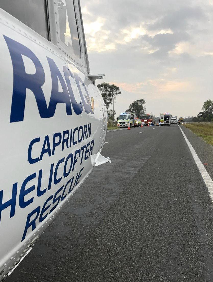 RACQ Capricorn Helicopter Rescue on the scene of a crash 25km north of Yaamba to fly a 20-year-old patient to Rockhampton Hospital.