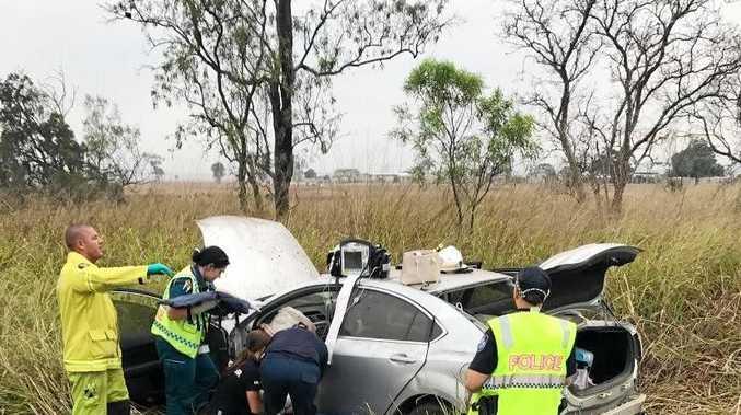 Crews attending to a crash 25km north of Yaamba.