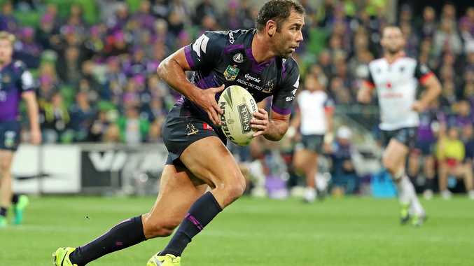 MELBOURNE, AUSTRALIA - APRIL 25:  Cameron Smith of the Melbourne Storm runs with the ball during the round eight NRL match between the Melbourne Storm and the New Zealand Warriors at AAMI Park on April 25, 2017 in Melbourne, Australia.  (Photo by Scott Barbour/Getty Images)