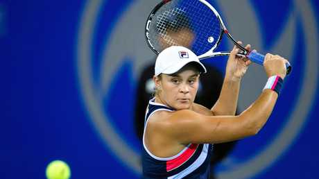 Ashleigh Barty of Australia returns a shot to Jelena Ostapenko of Latvia in their semifinal match of the women's singles during the WTA Wuhan Open 2017 tennis tournament in Wuhan city, central China's Hubei province, 29 September 2017.Ashleigh Barty defeated Jelena Ostapenko 2-0 (6-3, 6-0).