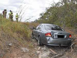 Car crashes into ditch on main road