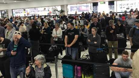 The lengthy queue at Melbourne airport.
