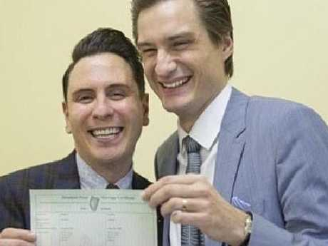 Richard Dowling (left) and his husband Cormac Gollogly (right), the first gay couple to legally wed in Ireland on the day of their marriage in Clonmel, Tipperary.