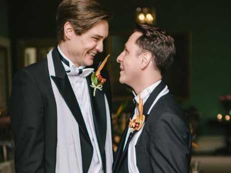 Cormac and Richard on the day of their civil partnership in September 2015. Same-sex marriage would become legal in Ireland two months later.