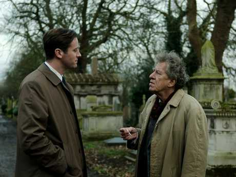 Geoffrey Rush and Armie Hammer in a scene from Final Portrait.