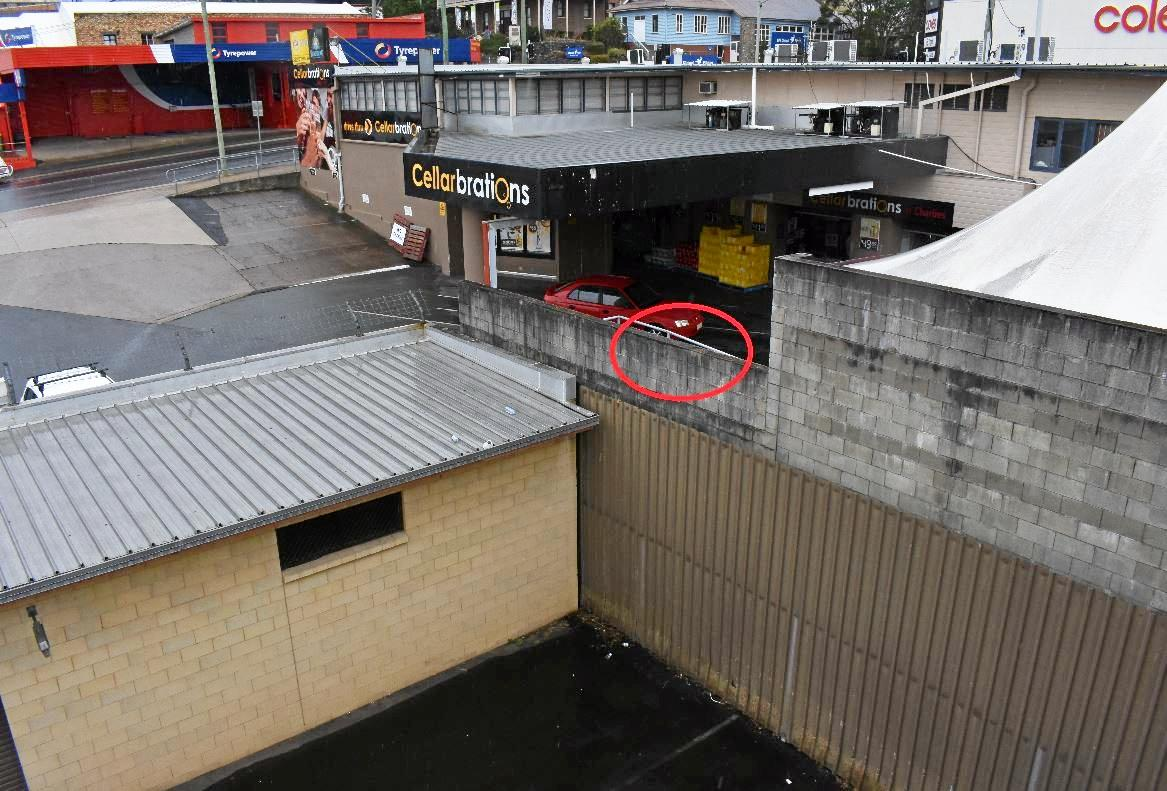 The wall at the back of Club 88 that Max Van Heusden fell from onto concrete about 8 m below.