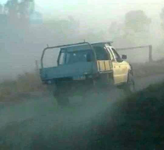 The ute alleged to have rammed a car on the Bruce Highway south of Mackay.