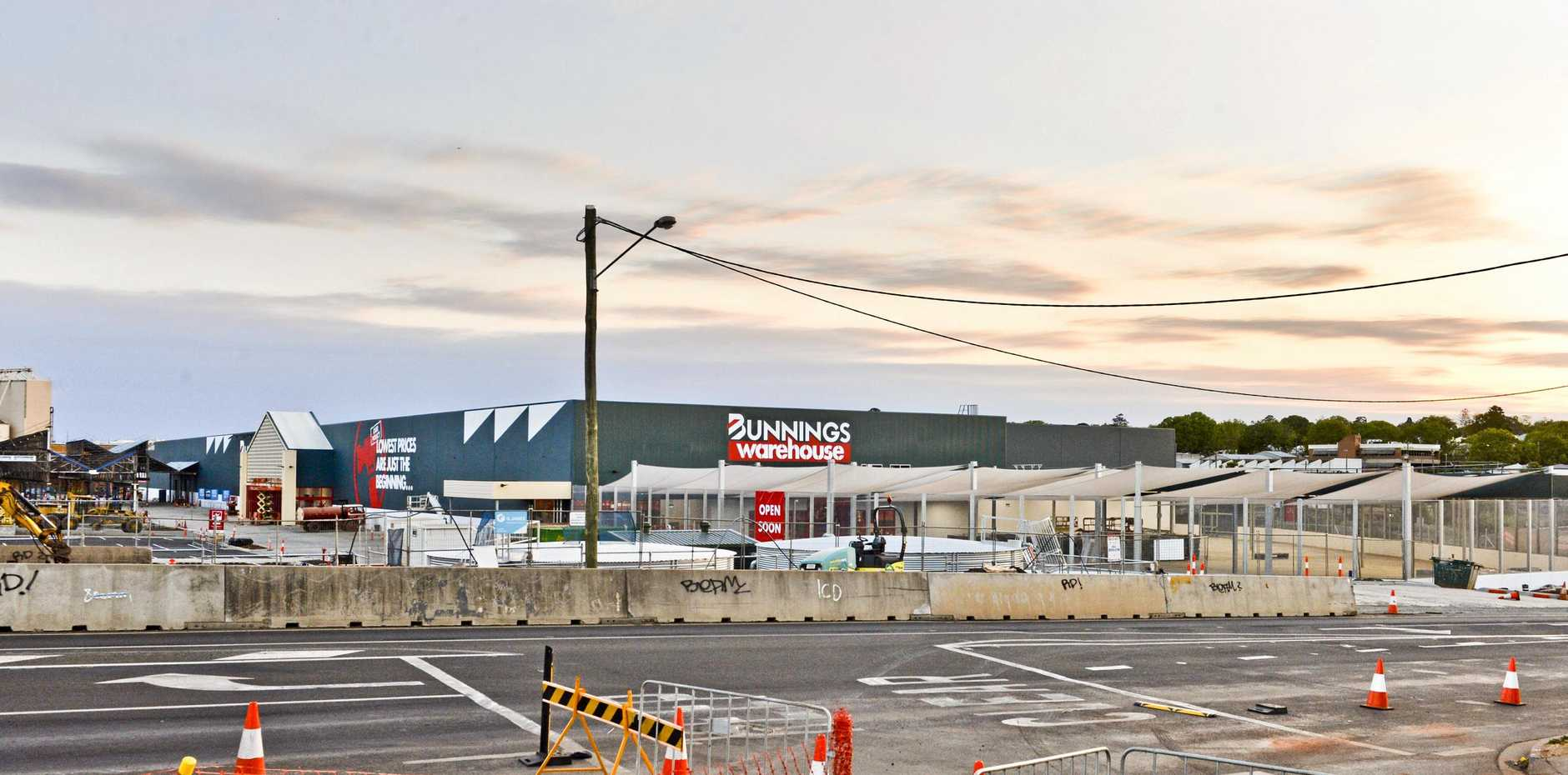 MILESTONES REACHED: The new Bunnings Warehouse on Ruthven St is nearing completion.