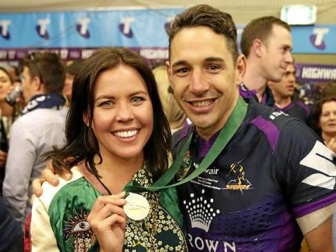 Billy Slater and wife Nicole after the 2017 NRL grand final. Picture: Brett Costello