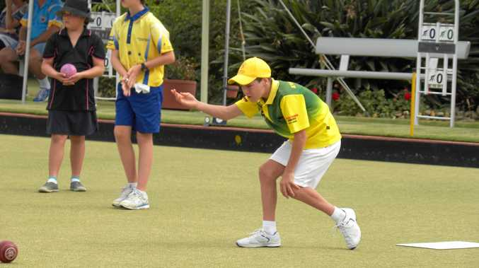 ABOVE: Evans Head bowler Oscar Forrester competing in the AeroBowls Junior Tournament at Ballina RSL Bowling Club.