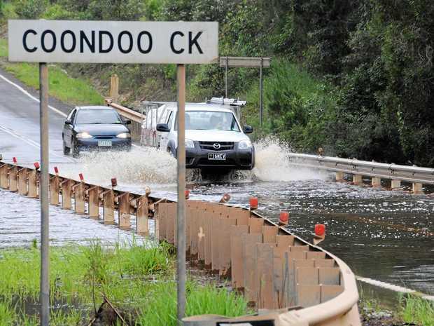 Water over the bridge at Coondoo Creek.