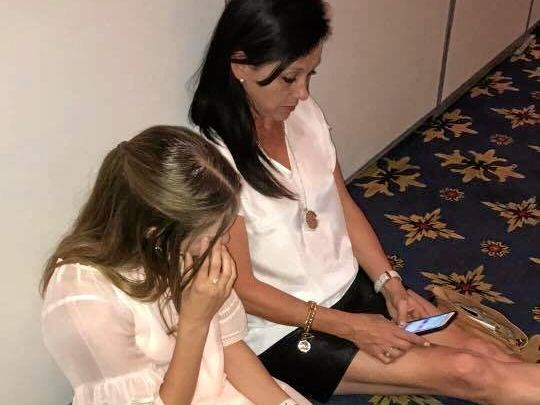 Grafton dance teacher Nicole Shipman and her daughter Madeline text family and friends that they are safe while being held in lockdown in the convention centre of the Paris hotel in Las Vegas. Nicole and her family were nearby when shooting broke out at the Mandalay Bay casino.