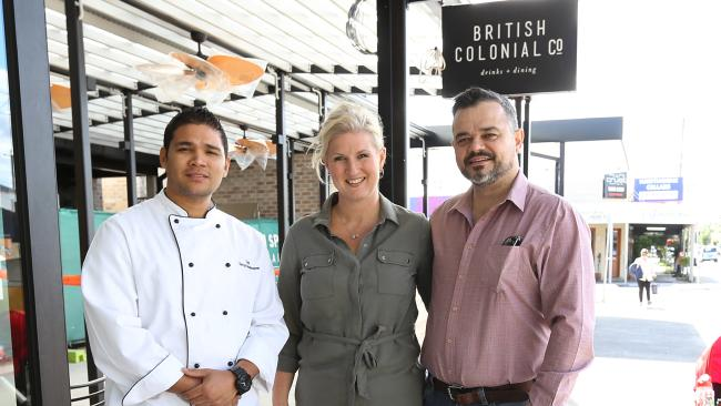 Chef Darryn Bonhomme with owners Angela and Mark Kennedy in June. Picture: Richard Waugh.