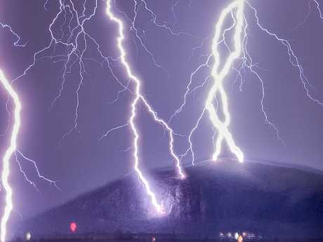 Lightning strikes Mt Coolum.