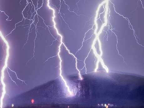 Lightning strikes Mt Coolum.