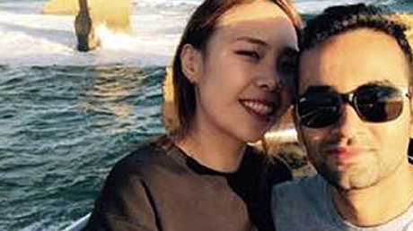 Stella Kim, the shocked Sydney woman who found live worms in her steak at a restaurant in Ryde, with her partner Sushil Lamichhane. Picture: FacebookSource:Facebook