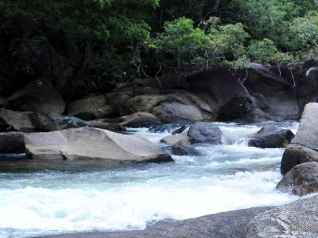 The man has not been seen since plunging 30m into Roaring Meg Falls. Picture: Brian Cassey