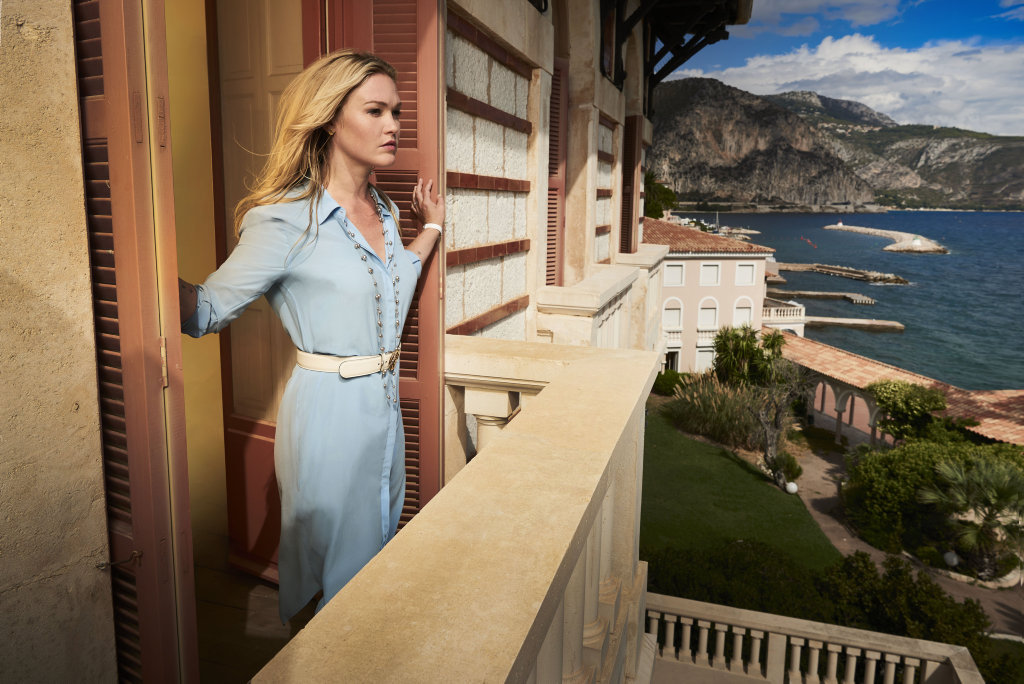 Julia Stiles stars as Georgina Clios in the TV series Riviera.