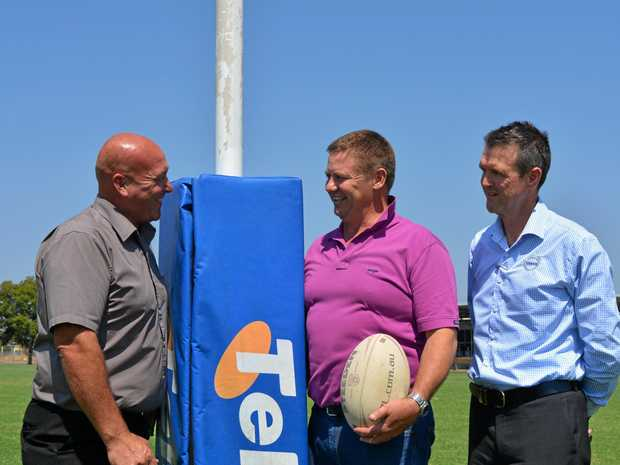 LOVE OF THE GAME: Nolan's Transport director Flea Nolan, Lockyer Valley Councillor Jason Cook and VCV Brisbane sales manager Bruce Snell are helping to bring the International Legends of League to Cahill Park in November.