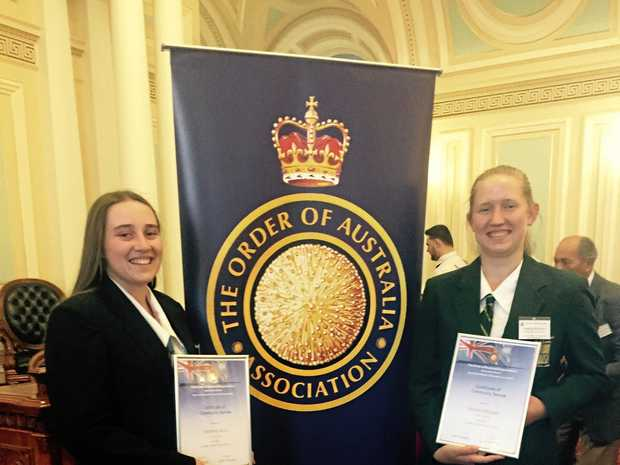 YOUTH IN ACTION: Yaz Bock of Laidley High School and Amelia Webster of Lockyer District High School were rewarded for pursuing their community passions.