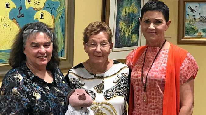 ART BUFFS: Artist Sharon Davson, Karin Kolenko and  Mayor Tanya Milligan at the opening.