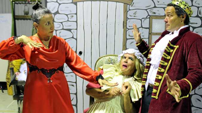 Lisa Dusi as Malabelle, Graham Scott as Ma, and Denis O'Hare as the Prince in Murwillumbah Theatre Company's production of Beauty and the Beast.