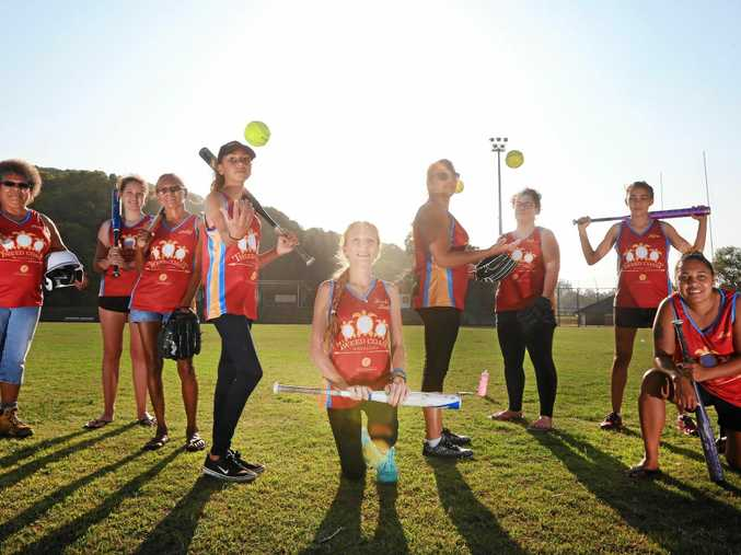 The Tweed Coast Warriors Softball Club at a training session at Piggabeen Sports Complex on Thursday.