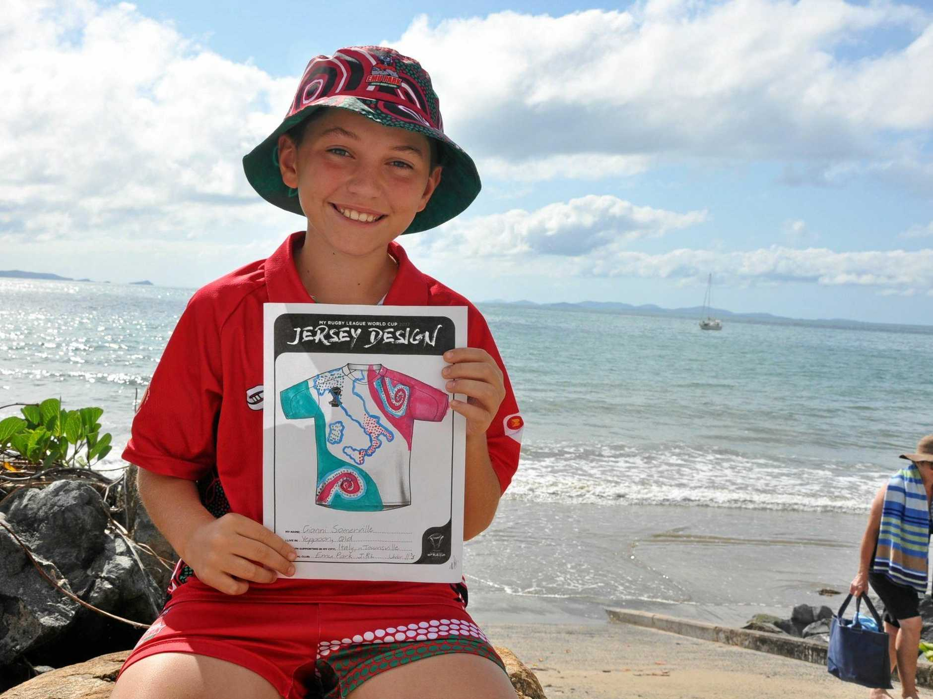 OPPORTUNITY OF A LIFETIME: Gianni Campisi's winning design will give his Emu Park under 11 team-mates the chance to run on as mascots at Townsville's Rugby League World Cup, but they need funding help to get them there.
