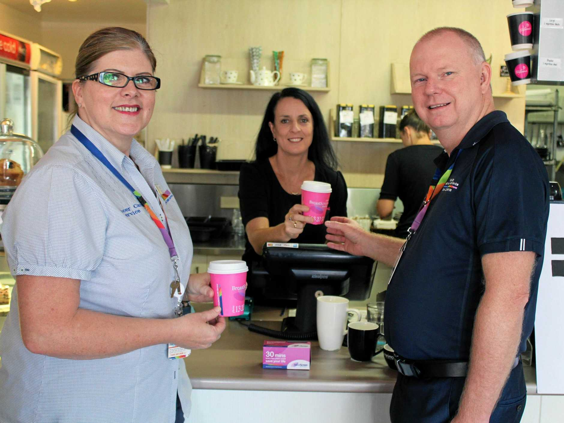 #DRINKPINK: Julie Evans, Kerry Darlington-Day and Ray Johnson encourage locals to hashtag for cancer awareness.
