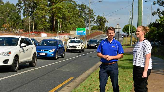 Meridan State College P&C president Katrina Silverlock and Member for Kawana Jarod Bleijie have launched a campaign calling on Sunshine Coast Council to reduce congestion on Parklands Boulevard.