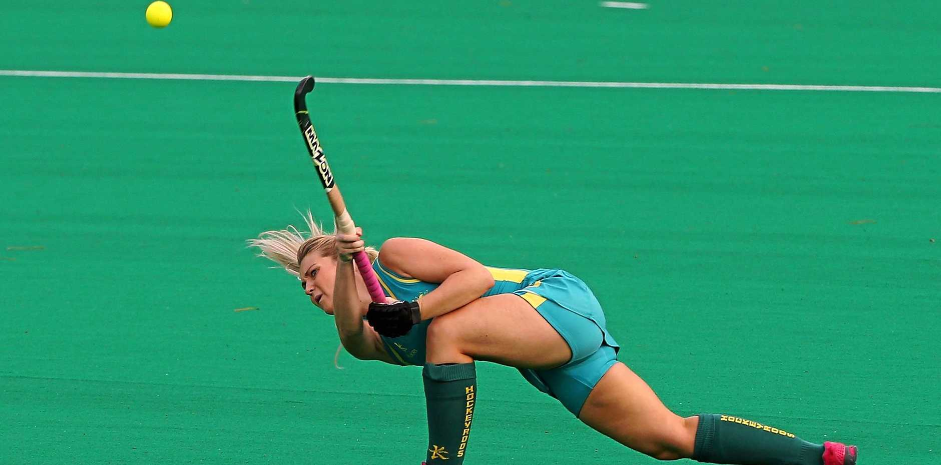 TALENTED: Ashlea Fey of passes the ball for Australia's under-21 side.