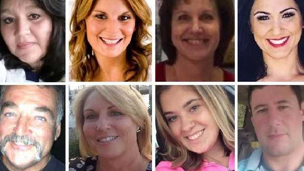 Las Vegas shooting victims. Pictured from top left: Lisa Romero, Rhonda LeRocque, Susan Smith, Jenny Parks, (bottom,left) John Phippen, Dana Gardner, Bailey Schweitzer, Adrian Murfitt.