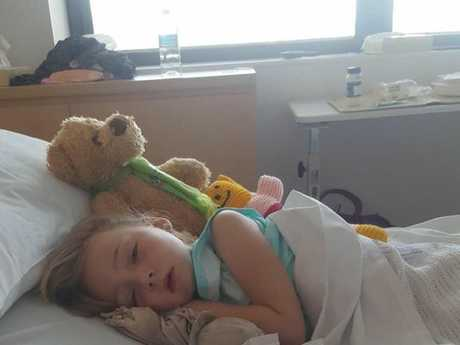 Sienna Clark, 6, spent six days at Lismore Base Hospital being treated for Influenza A.