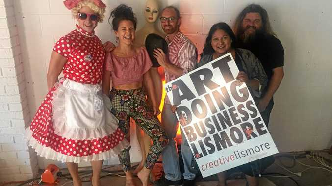 BACK IN BUSINESS: Jesse-Belle with Katie Cooper-Wares,  Phil Blackman, Sunita Bala and Jeb Schulz at the launch of Creative Lismore's first activated space for artists affected by the flood in collaboration with  Lismore Square and Realartworks and Lismore City Council.