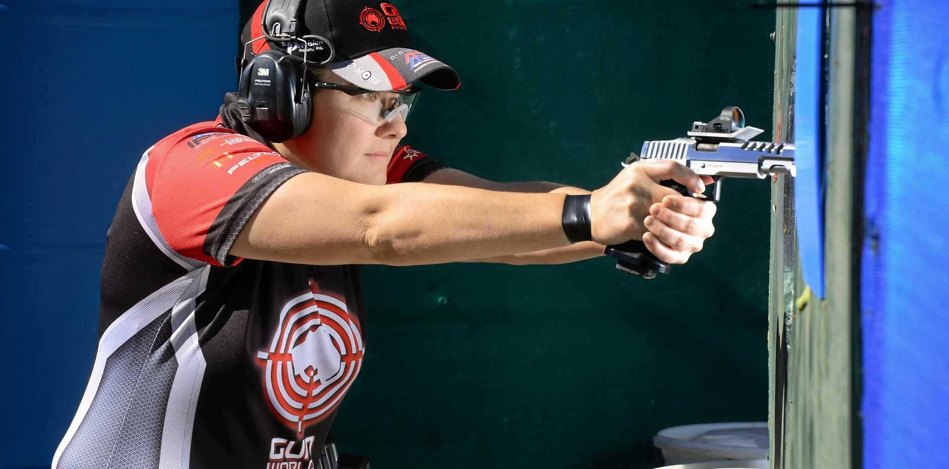 ON TARGET: Karla Blowers won her third consecutive title at the IPSC Handgun World Shoot, and is already making plans to defend the title at the next competition in three year's time.