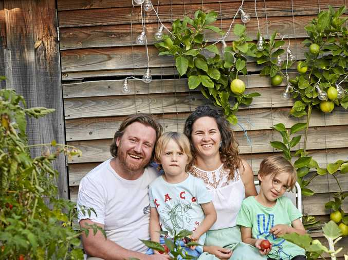 Matt Wilkinson and Sharlee Gibb, authors of Mr and Mrs Wilkinson's How It Is At Home, with their sons Finn and Jay.