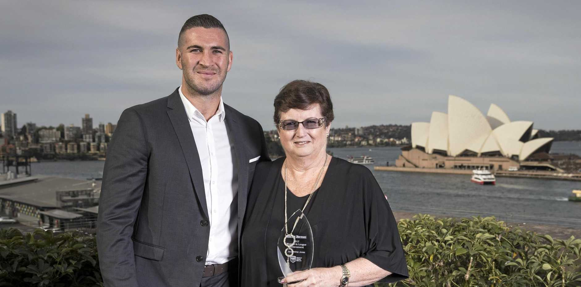 HUGE HONOUR: Jacquie at the awards with Ken Stephen medal nominee and St George Illawarra Dragons forward Joel Thompson.