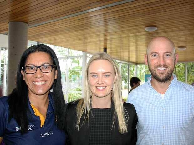 Sunshine Coast Lightning coach Noeline Taurua, with Tayah Bot and Dave McLenaghan at the University of the Sunshine Coast Health and Sport Centre for the Maroochydore Chamber of Commerce coffee morning with Sunshine Coast Lightning.