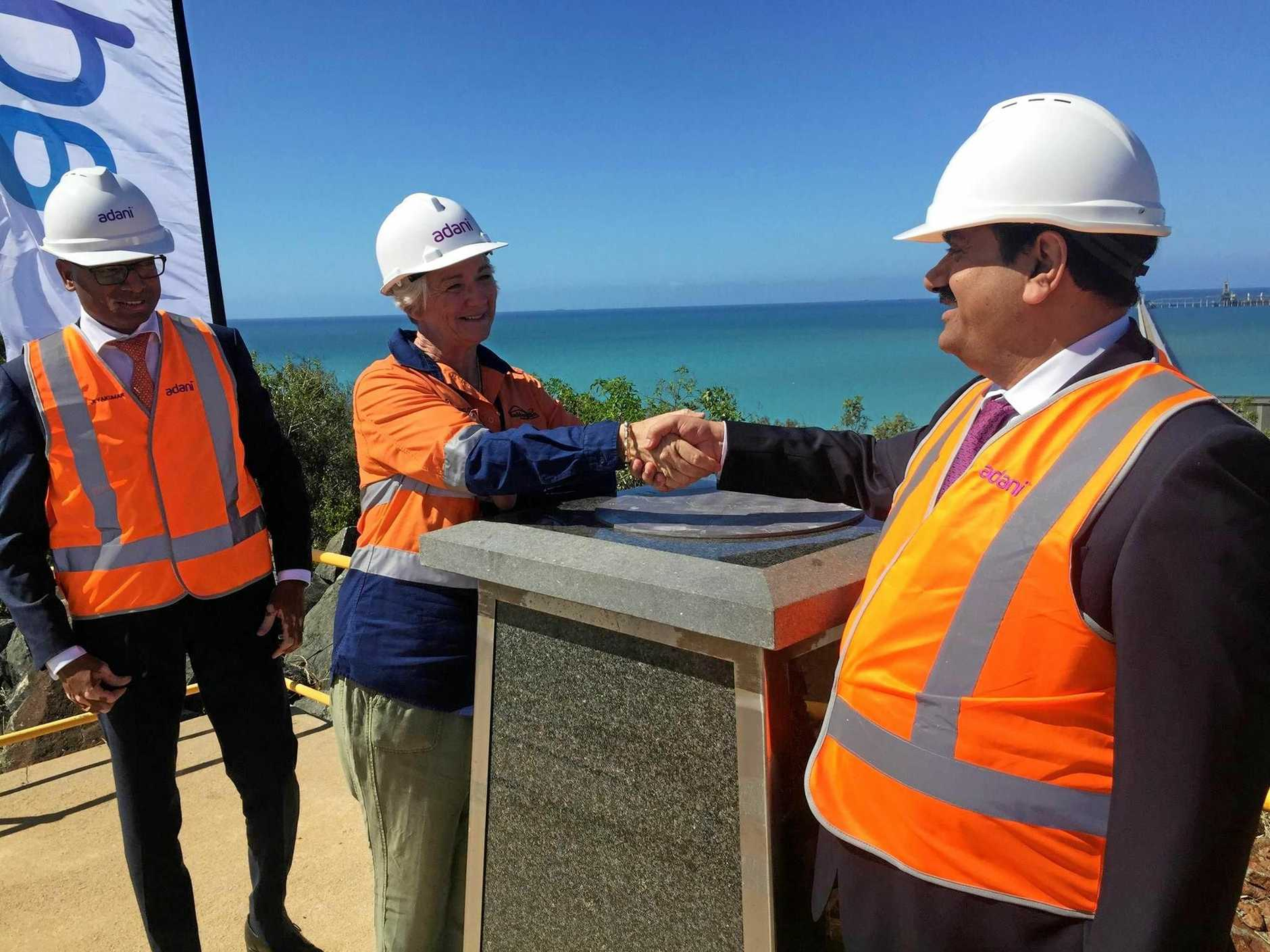 CONGRATULATIONS: Rockhampton Mayor Margaret Strelow shakes hands with Adani chairman Gautam Adani.