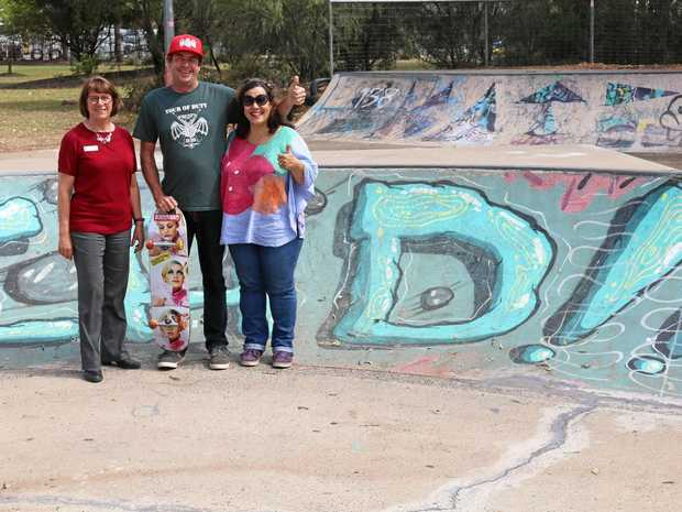 YOUTHFUL FUN: Cr Carolyn Tillman with Brad and Claudia Ehlers at the Chinchilla Skate Park.