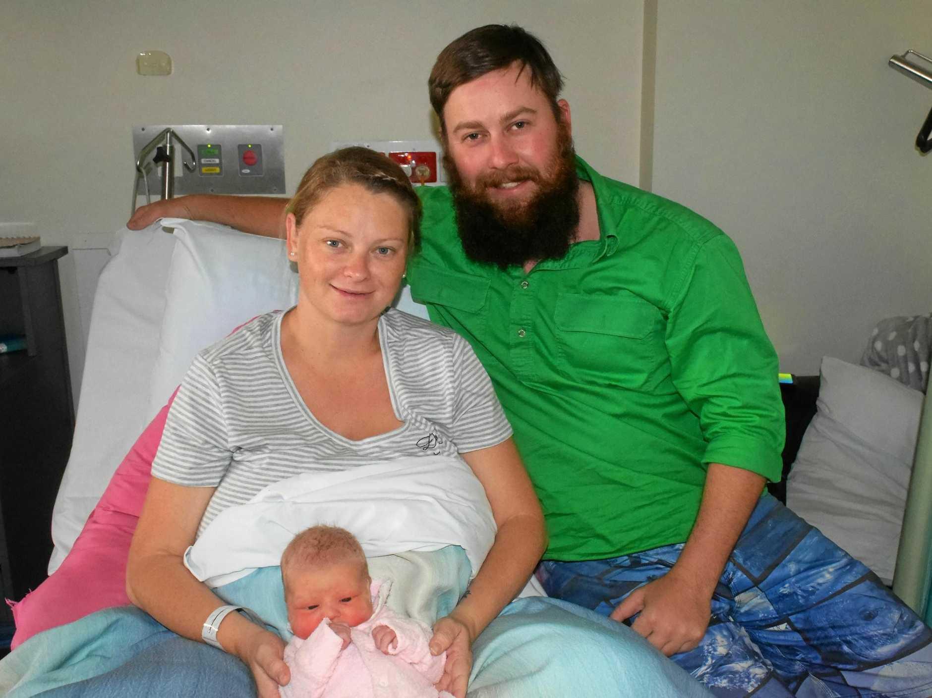 CUTE: Newborn Chloe Jaide Euler with parents Kim Kadel and Tony Euler at Gladstone Hospital.