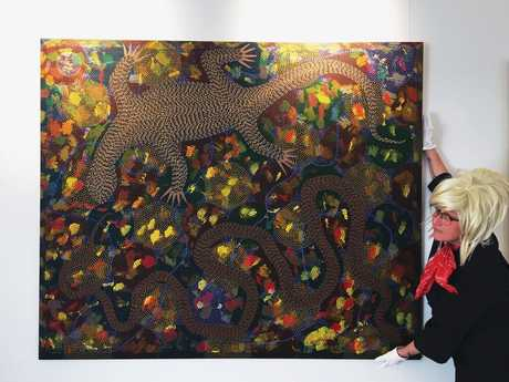 DETECTIVES NEEDED: Peggy Popart and Digby Moran's Goanna Headland painting in the LRG Permanent Collection gallery.