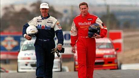 DRIVING WITH LEGENDS: Mark Skaife with Peter Brock at Bathurst (left) in 1994 and after his win with Jim Richards in 2002.