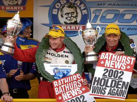 Skaife and Jim Richards celebrate their win in the 2002 Bathurst 1000